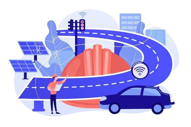 Bauingenieur und smart road mit sensoren und solarenergie