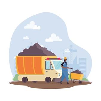 Baukippfahrzeug mit baumeister im arbeitsplatzszenenvektorillustrationsdesign