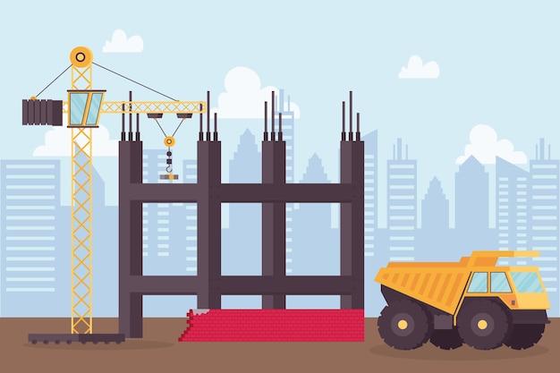 Baukippfahrzeug und kran im arbeitsplatzszenenvektorillustrationsdesign