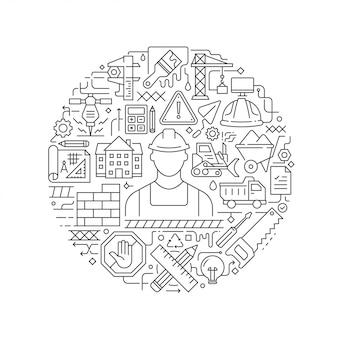 Baukonzept in der dünnen flachen illustration