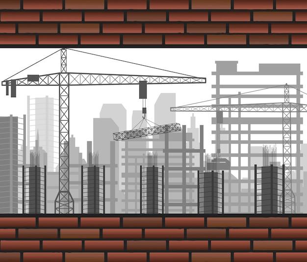 Baukrangebäude zwischen zwei backsteinmauern