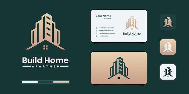 Baulogo-design-vorlage mit goldfarbe. bau, baumeister, gebäude, architektur-logo-design-inspiration.