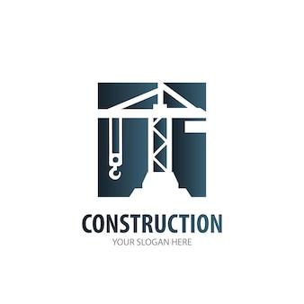 Baulogo für wirtschaftsunternehmen. einfache konstruktion logo-idee-design. corporate-identity-konzept. kreative bauikone aus der zubehörkollektion.