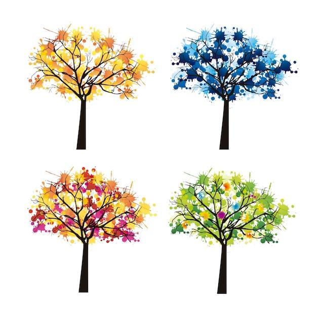 Baum abstrakt auf weißem hintergrund wetter vektor-illustration
