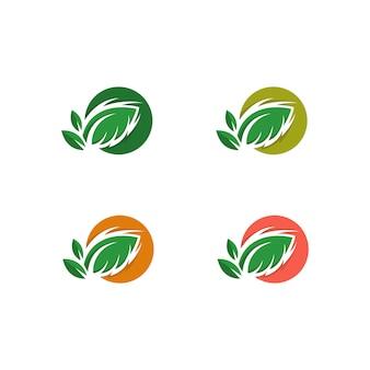 Baum-Blatt-Vektorikone Illustrationsdesignschablone