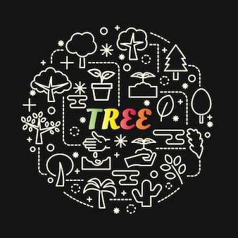 Baum bunten farbverlauf mit linie icons set