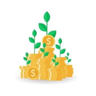 Baum, der auf münzenstapel mit investmentfonds wächst