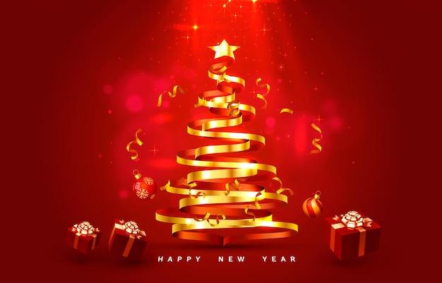 Baum der frohen weihnachten guten rutsch ins neue jahr mit spielwarenkartenfahnenvektor
