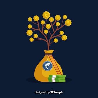 Baum der indischen rupie