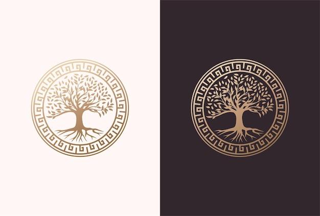 Baum des lebens-logo-design mit griechischem kreiselement in goldener farbe.