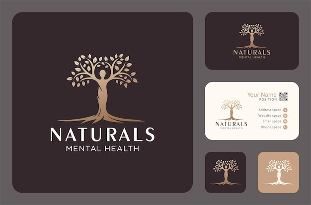 Baum des lebens oder logos für psychische gesundheit in goldener farbe.