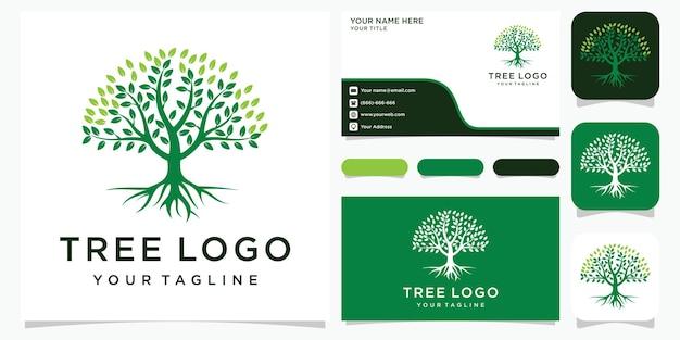 Baum. elemente natur. grüne gartenlogoschablone und visitenkarte