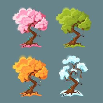 Baum in jeder der vier jahreszeiten.