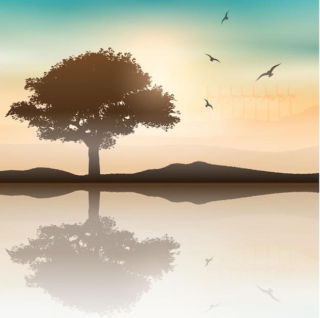 Baum landschaft mit windkraftanlagen im hintergrund