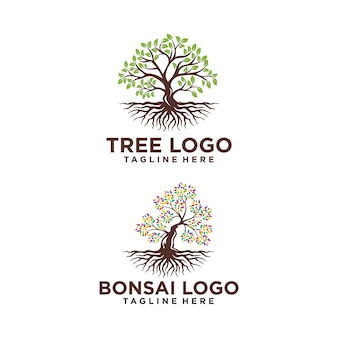 Baum logo design silhouette vektor