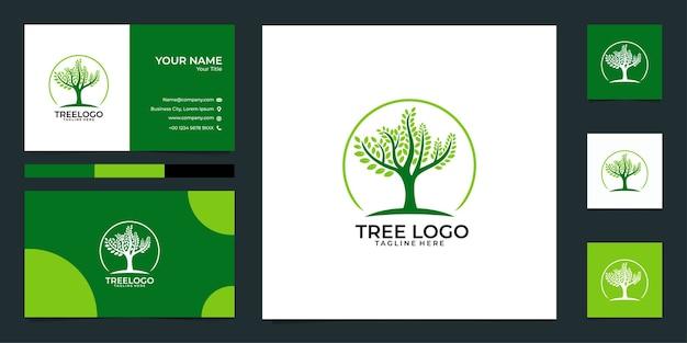 Baum logo design und visitenkarte