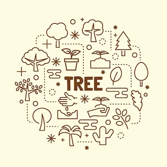 Baum minimal dünne linie icons set