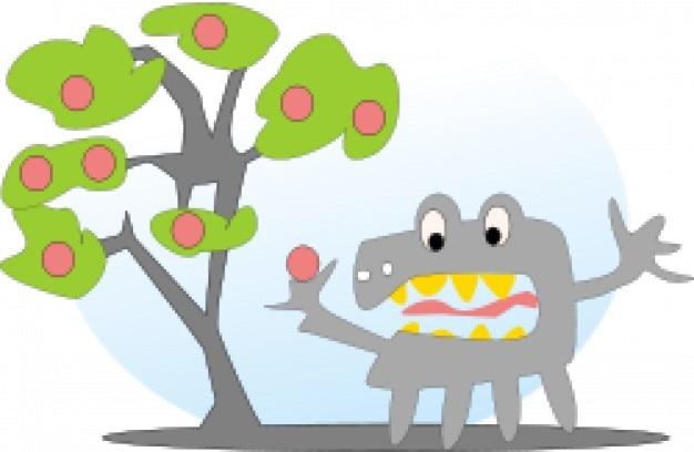Baum mit äpfeln und einem monster