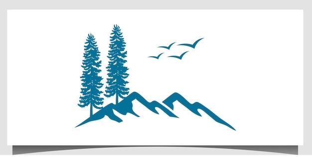 Baum mit berg-logo-design-vektor mit visitenkarten-vorlagenhintergrund