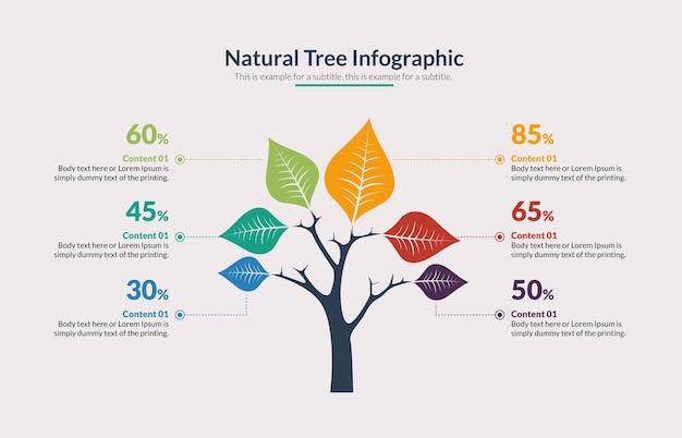 Baum mit blatt infographik