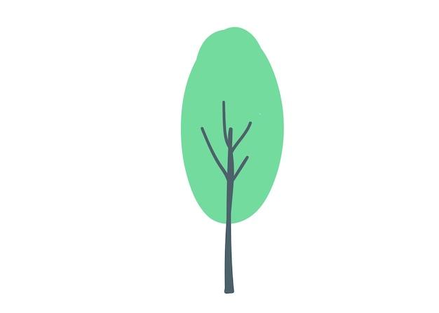 Baum mit grüner krone handzeichnung cartoon doodle vektor-illustration isoliert