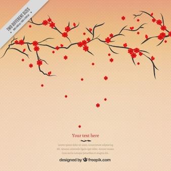 Baum mit roten blumen hintergrund
