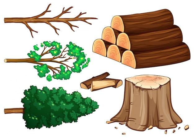 Baum und brennholz auf weißem hintergrund illustration
