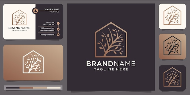 Baum und haus elegantes design. moderner baum mit kombination im haus einfachen rahmen. logo und visitenkartenvorlage