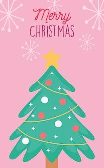Baum verzierte illustration der frohen weihnachten