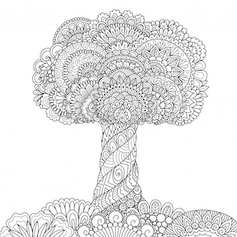 Baum zentangle stil, malvorlagen