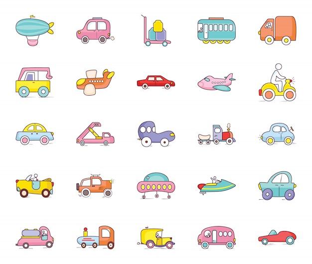 Baumaschinen doodle icons pack