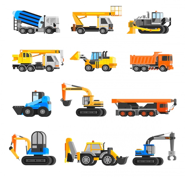 Baumaschinen icons set