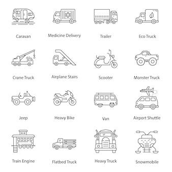 Baumaschinen linie icons pack