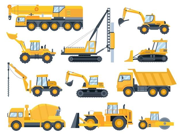 Baumaschinen. schwere maschinen für bau, bagger, bulldozer, lkw, traktor und kranfahrzeug. gebäudeausrüstungsvektorsatz. ausrüstung bulldozerfahrzeug, traktormaschine bis bau