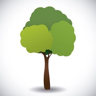 Baumdesign über grauer hintergrundvektorillustration