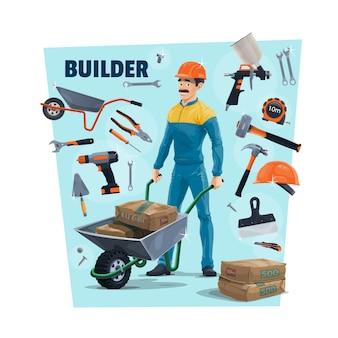Baumeister, bauarbeiter und werkzeuge. karikaturbauer, der einen zement in schubkarre, sprühgerät und hammer, maßband, schraubendreher und kelle, messer und schraubenschlüssel, zange und schaber trägt