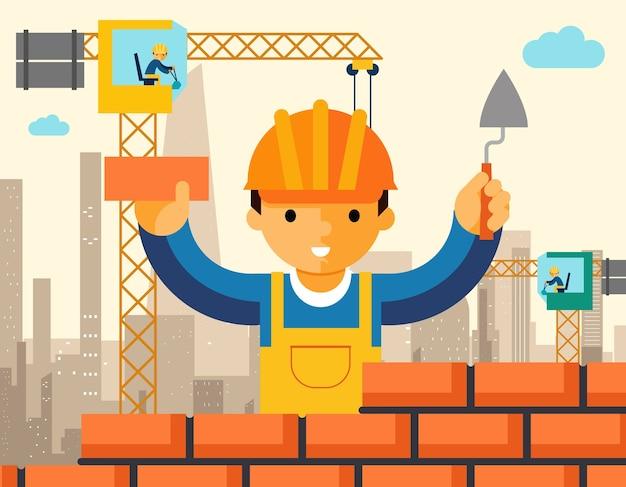 Baumeister baut backsteinmauer des hauses. arbeiter oder mauerwerk, arbeit mit kelle, mann im helm.
