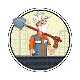 Baumeister mit schaufel mit gesichtsmaske