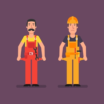 Baumeister und klempner bankrott zeigen leere taschen. vektor-illustration.