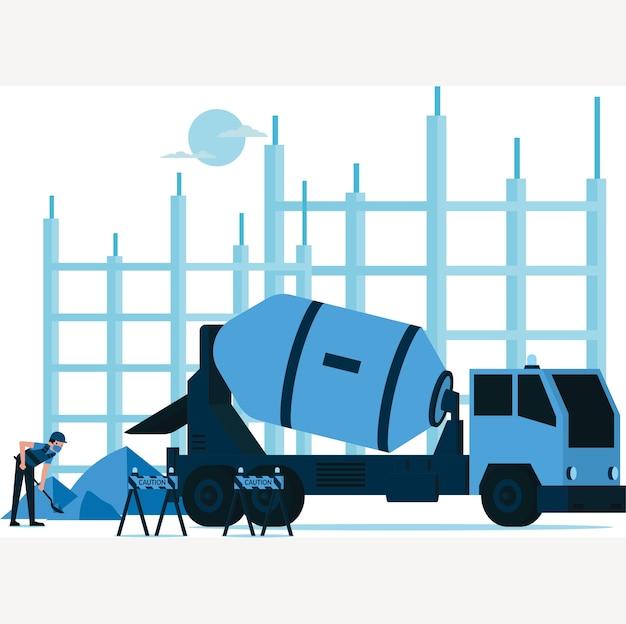 Baumeistermann, der den sand nimmt, um ihn in betonmischerwagen auf der baustelle zu mischen
