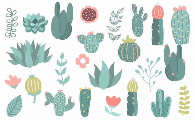 Baumgegenstand eingestellt mit kaktus, anlage.