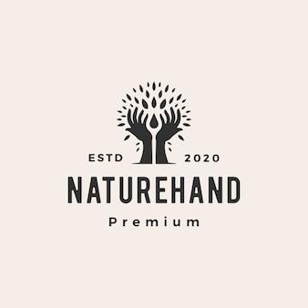 Baumhandnaturblattwassertropfen-hipster-weinleselogoikonenillustration