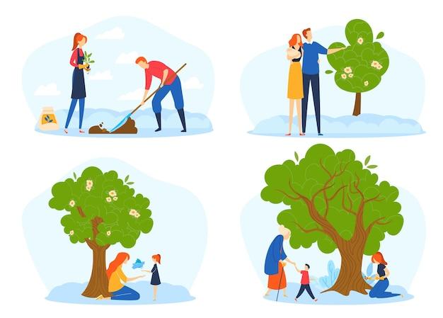 Baumlebenszyklus, wachstumsmetapher, wachstumsstadien von menschen und baum vom samen bis zur großen pflanze