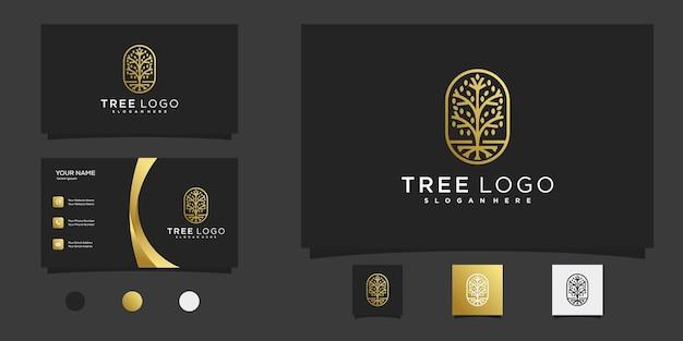Baumlogo mit goldener linie kunststil und visitenkartendesign premium-vektor