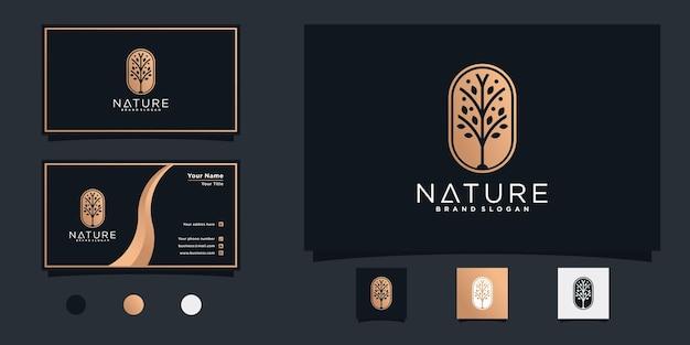 Baumlogo mit modernem, einzigartigem linienkonzept und visitenkarte premium vecto