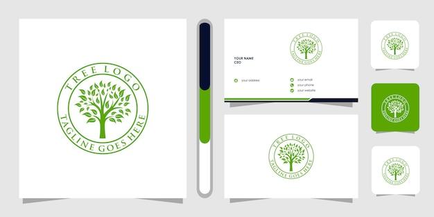 Baumlogo und visitenkarte. grüne gartenlogoschablone