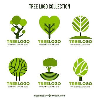 Baumlogosammlung in der flachen art