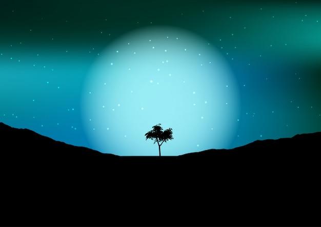Baumschattenbild gegen einen nächtlichen himmel