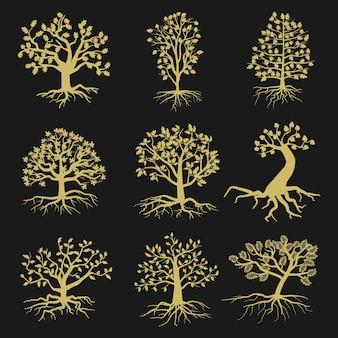 Baumschattenbilder mit blättern und wurzeln lokalisiert auf schwarzem hintergrund. illustration von naturformbäumen