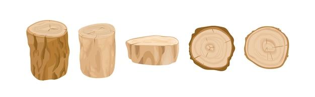 Baumstümpfe und baumstämme vektorgrafiken eingestellt. baumstammteile draufsicht und seitenansicht. abgeholzter wald, industrieholz, baumaterial. brennholz, baumaterial, bauholz isoliert auf weißem hintergrund.